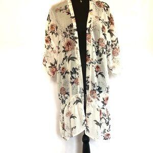 Charlotte Russe Ivory Floral Kimono Wrap